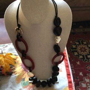 Chico's pretty black, red and  gold necklace.